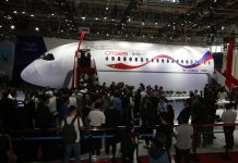 A mock-up of the CR929's cabin and flight deck was unveiled at the China International Aviation & Aerospace Exhibition in Zhuhai. The aircraft is being developed by China-Russia Commercial Aircraft International Corporation.